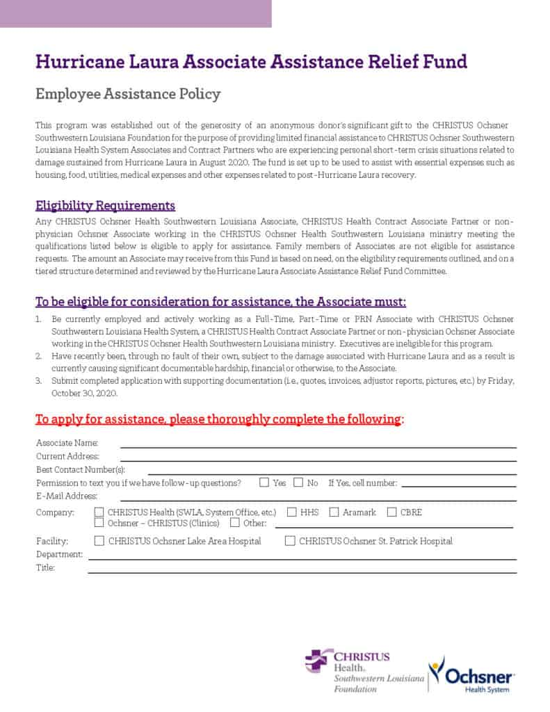 Hurricane Laura Associate Assistance Relief Fund Application (Fillable)